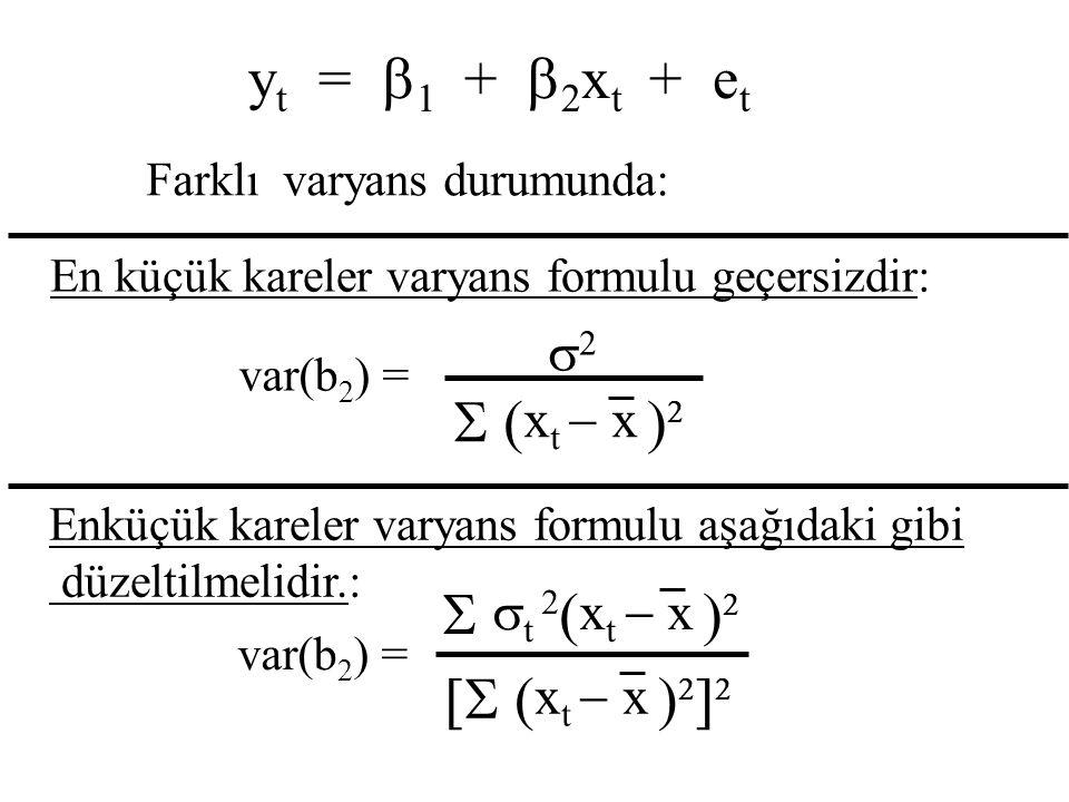 S (xt - x )2 S st 2(xt - x )2 [S (xt - x )2]2 yt = b1 + b2xt + et s2